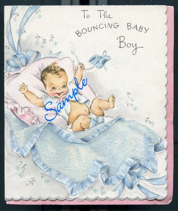 Digital Download-Vintage Welcome Card for Baby Boy