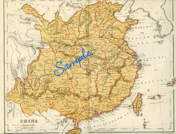 Digital Download-Vintage Map Of China For Framing Or For Use
