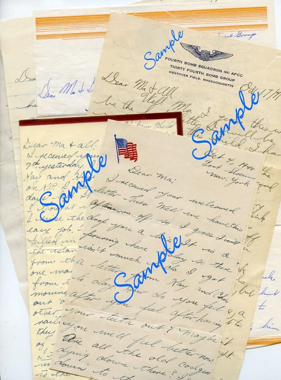 Lof of Vintage 40's Letters and Envelopes from Young Soldiers in WW2