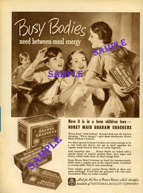 Digital Download-1938 Honey Maid Graham Crackers magazine ad