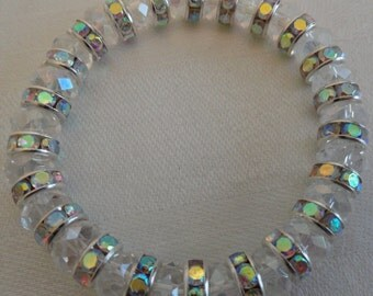 Sparkly Clear and Silver Crystal Stretchy Bracelet