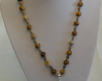 Picture Jasper Fan Necklace