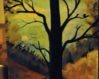 """Old tree on canvas painting in acrylic 10""""x16"""""""
