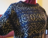 SALE - 1980s Pattern Knit Short Sleeve Sweater