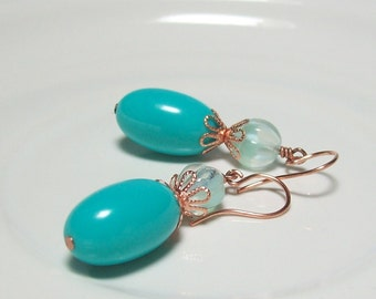 Turquoise Earrings. Vintage Lucite and Czech Glass. Retro Style.