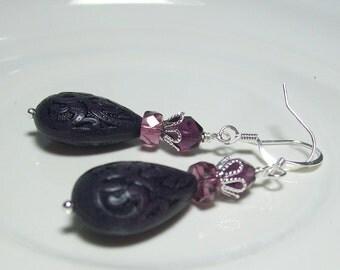 Retro Style Purple Earrings. Lucite and Czech Glass. Purple Teardrops.