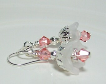 Bride's Rose Peach and White Flower Earrings. Vintage Inspired Lucite.