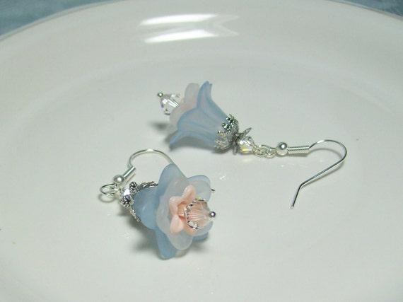 Sweet Blue Flower Earrings Vintage Inspired Lucite