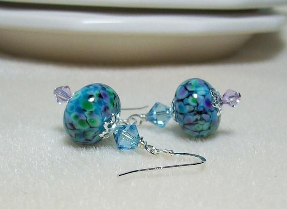 Caribbean Blue Artisan Lampwork Earrings. Swarovski Crystals. Sterling Silver.