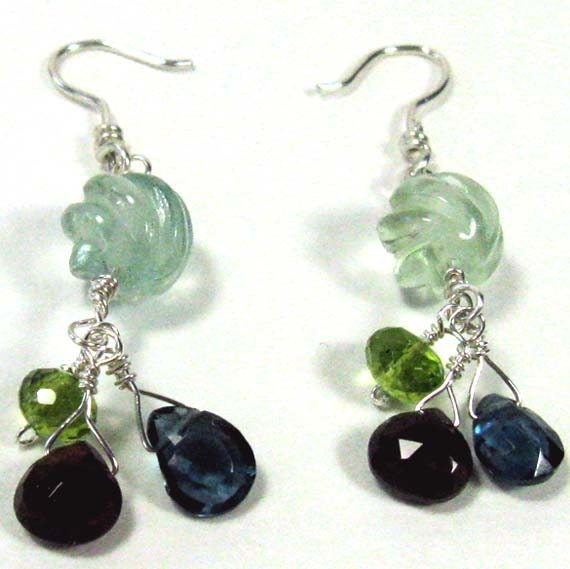 Blue Topaz Earrings With Garnet And Peridot Accents