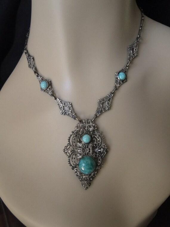 Vintage Czech Edwardian or Art Deco Ornate Filigree Turquoise Green Peking Glass Pendant Necklace