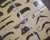 Mustaches Galore Moustache Mania Assorted Mustache Themed Ceramic Tile Drink Coasters- READY TO SHIP great for Father's Day
