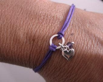 Friendship bracelet heart and tiny gemstone