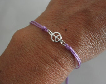 SALE Peace sign friendship bracelet sterling silver