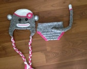Instant Download - PDF Monkey Hat and Diaper Cover Crochet Pattern - hat all sizes