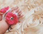 Instant Download - PDF Barefoot Sandals Crochet Pattern - 0 to 2T - Flower - Baby Sandals