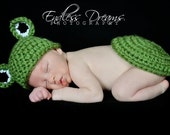 Instant Download - PDF Frog Hat and Tushy Topper Crochet Pattern - Newborn to 4 years