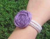 HALF PRICE SALE - Purple Damask Fabric Flower Rosette Bracelet on Pearl Beaded Bracelets