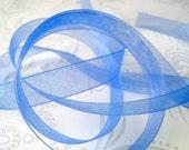 Blue Organza Ribbon 3/8 -- 4 yards -- 9.5mm