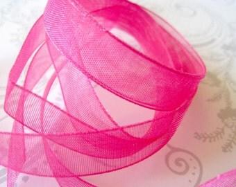 Hot Pink Organza Ribbon 3/8 -- 4 yards -- 9.5mm