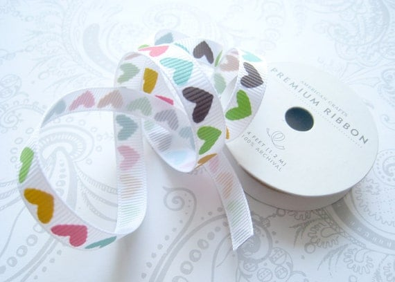 White Grosgrain Ribbon 3/8 -- American Crafts -- 4 Feet -- Hearts-- Card Supply