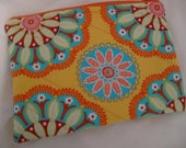 Quilted Cosmetic Bag - Zippered Pouch - Orange Blue Yellow Red Pink
