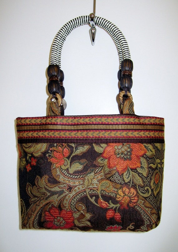 Parisian Floral tapestry handbag with striped trim