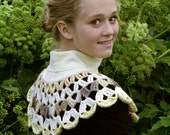 Upcycled cream feminine romantic crochet buttoned-up hand-dyed woolen shawl collar with vintage buttons