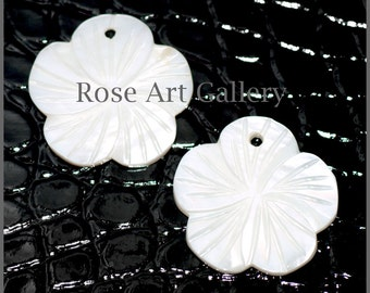25 Mother Of Pearl HAND Carved Floral Charm or Pendant 1 Inch x 1 Inch