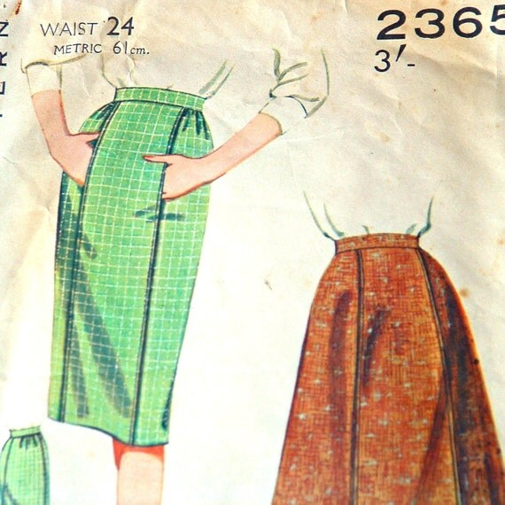 Vintage Skirt Pattern - 1960s Slim or Flare Skirt Pattern by Butterick Number 2365