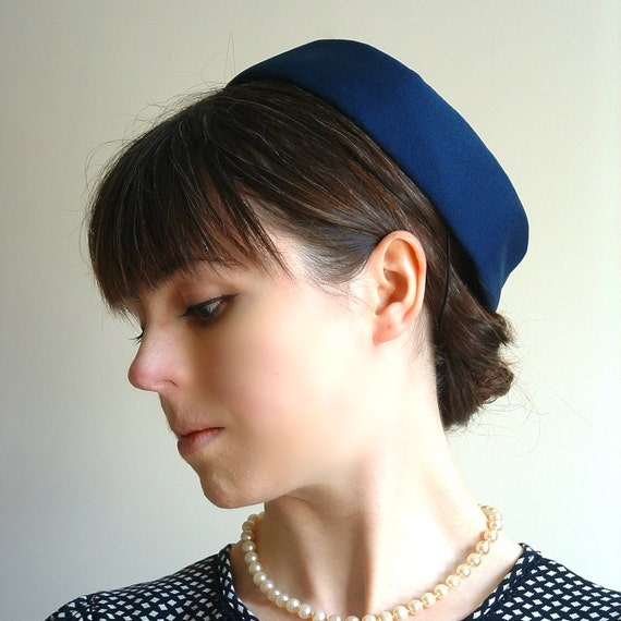 """1960s Pillbox Hat-  Blue Spring or  Summer fashion // """"The Demure Duchess"""" from Lesley's Girls Vintage"""