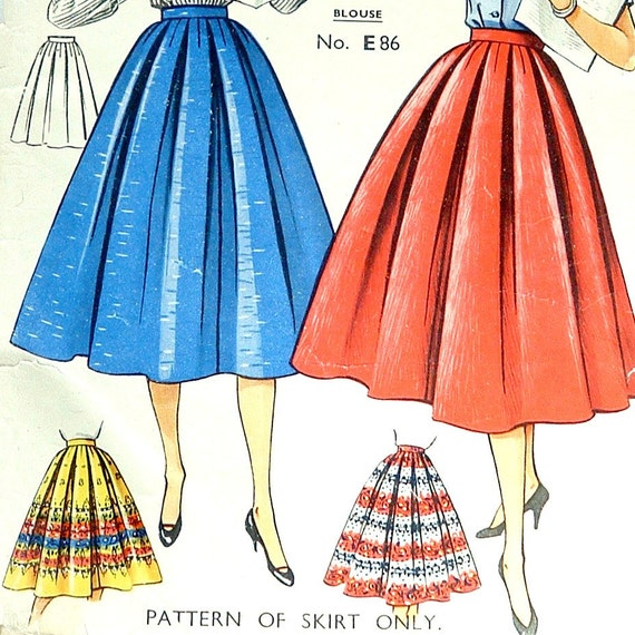 items similar to 1950s circle skirt vintage pattern