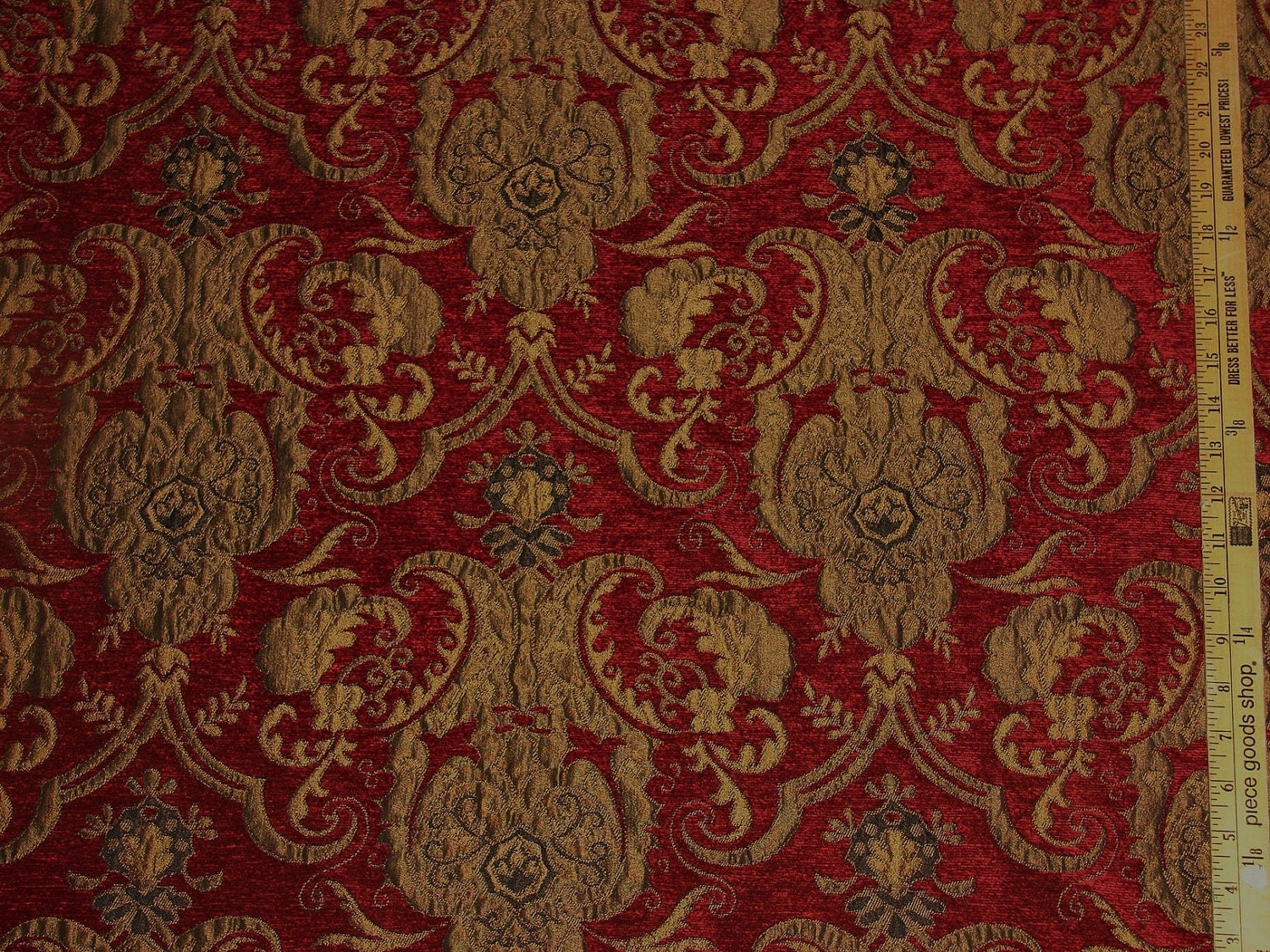 Heavy Weight Cut Red Velvet Damask Upholstery Fabric 1 2 Yard