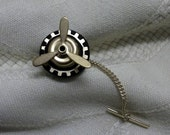 Steampunk tie tack pin propeller spinning brass gear black brass cogs gift for men jewelry clothing accessories aviator engineers mechanic