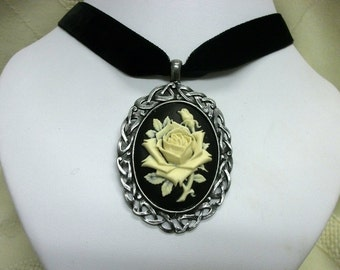 Gothic necklace black cameo rose celtic Velvet Choker adjustable steampunk Victorian or Renaissance goth womens jewelry statement necklace