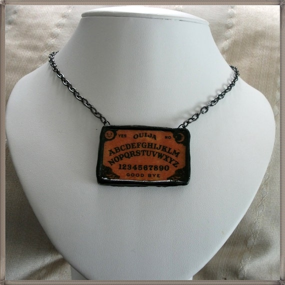 Ouija board  necklace  black chain Halloween jewelry spooky spirit guide fortune teller womens clothing accessories victorian spiritualist