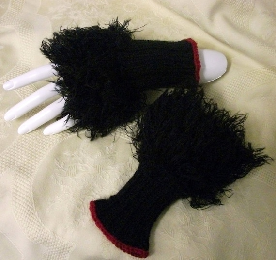 Gothic fingerless mittens Steampunk  goth Punk  gloves armwarmers black furry hand knitted womens clothing accessories