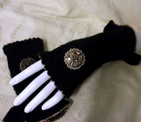 Steampunk mittens fingerless gloves black and brass knitted with cogs filigree womens clothing accessories