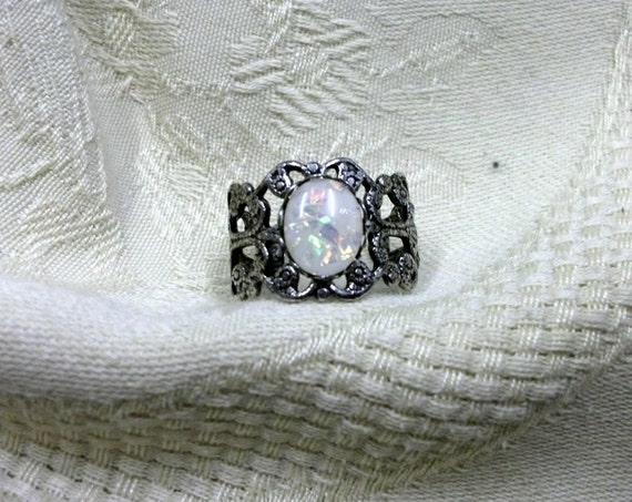 Gothic ring White Opal  filigree  steampunk victorian adjustable  antique silver finish goth jewelry