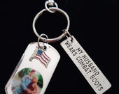 My Husband Wears Combat Boots Personalized Photo Clip Keychain