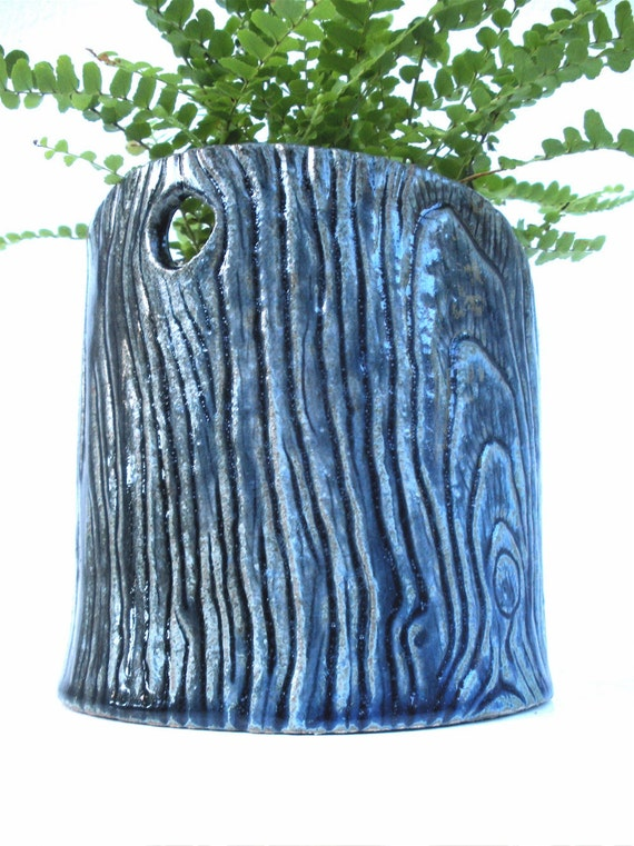 Ceramic Flower Pot - tree art, blue, teal, log shaped planter