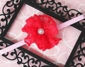 Red Lace Flower Headband- Valentine's Day