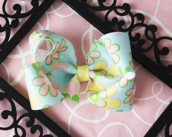 Large Blue, Pink, and Yellow Spring Flowers Bow