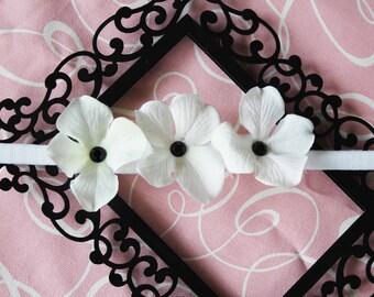 Black and White Hydrangea Headband