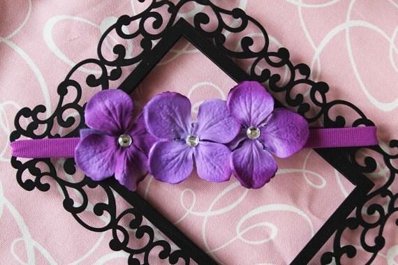 Violet Purple Hydrangea Headband