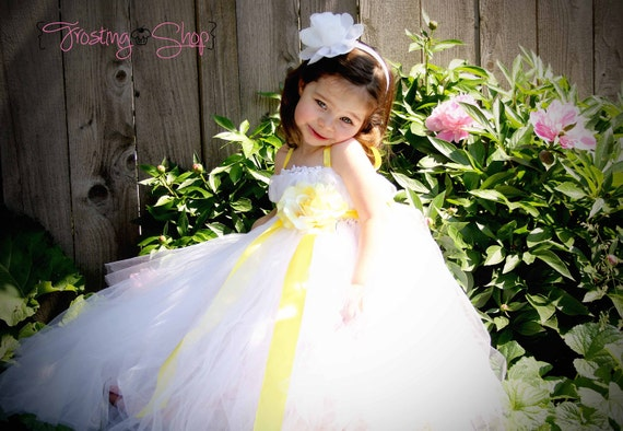 Classic White Tutu Dress - Customize Colors to match your event- Flower girl, Communion