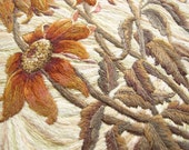 Hand Made Embroidery - Wall Decoration - Orange Flowers