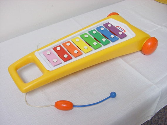 Vintage Little Tikes Zylophone Pull Toy Child's Musical Instrument