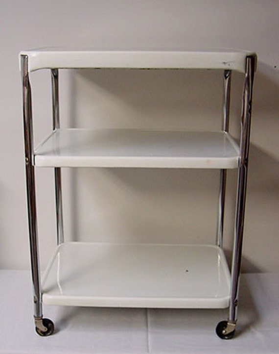 Vintage Cosco Kitchen Cart Metal Chrome Utility Cart by