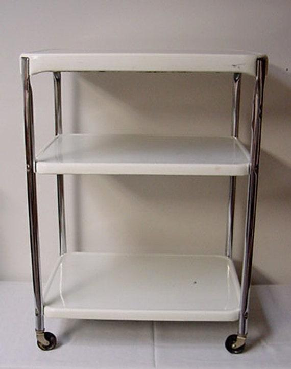 Vintage Cosco Kitchen Cart Metal Chrome Utility Cart Retro